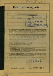 Opel Rekord B Original Fahrzeugbrief 1965