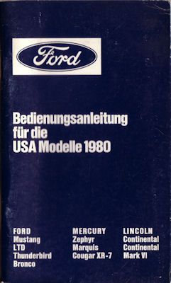 Ford USA Modelle Bedienungsanleitung 1980