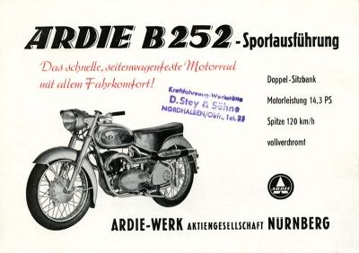 Ardie B 252 Sportausführung Prospekt 1952