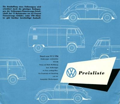 VW Preisliste 5.1956