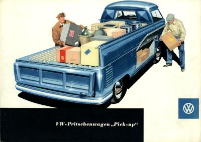 VW Pritschenwagen Pick up Prospekt ca. 1954 0