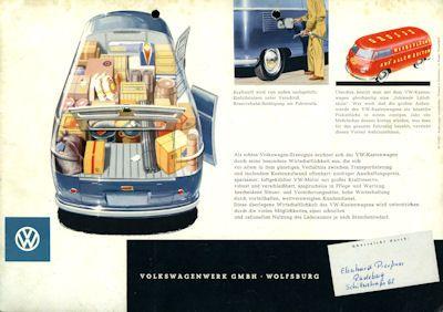 VW Kastenwagen T1 Prospekt ca. 1954 1