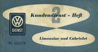 VW Kundendienstheft 2 11.1954 0