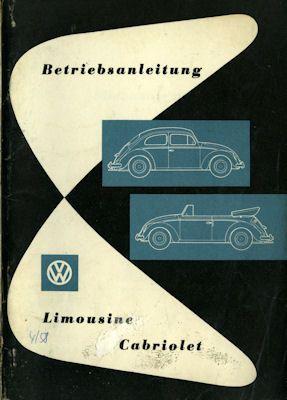 VW Käfer Bedienungsanleitung 4.1958 0