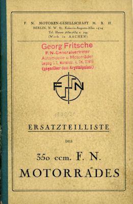 FN 350 ccm SV Ersatzteilliste ca. 1930 0