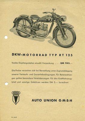 DKW RT 125 Prospekt 1950/51 0