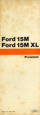 Ford 15 M 15 M XL Preisliste 8.1968 0