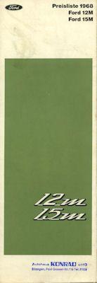 Ford 12 M 15 M Preisliste 1968 0