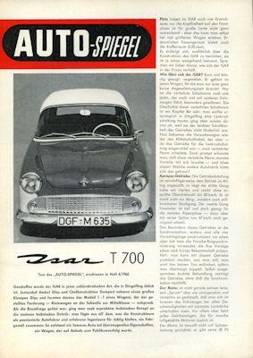 Glas Isar T 700 Test 1960 0