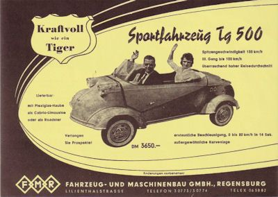 Messerschmitt Tg 500 Prospekt 1950er Jahre 0