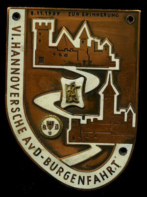 Plakette 6. Hannoversche AvD Burgenfahrt 8.11.1959 0