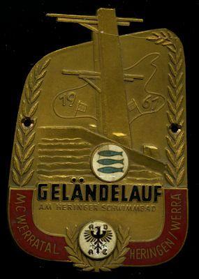 Plakette Geländelauf MC Werratal / Heringen 1961 0
