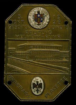Plakette Mühlheim / Ruhr 3.10.1926 0