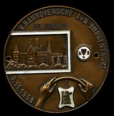 Plakette 5. Hannoversche AvD Burgenfahrt 9.11.1958 0