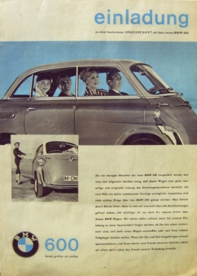 BMW 600 Plakat ca. 1960 0