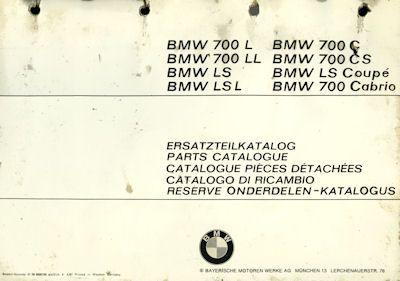 BMW 700 Ersatzteilliste 10.1967 1