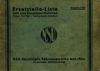 NSU 501 TS Ersatzteilliste 1930 0