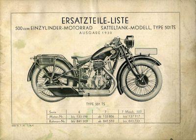 NSU 501 TS Ersatzteilliste 1930 1