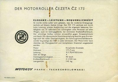 CZ Cezetta 175 Prospekt ca. 1961 1