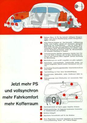 VW 34 PS Motoren Prospekt ca. 7.1960 0