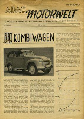 Fiat 500 C Kombi Sonderdruck Test aus ADAC-Motorwelt 10.1952 0