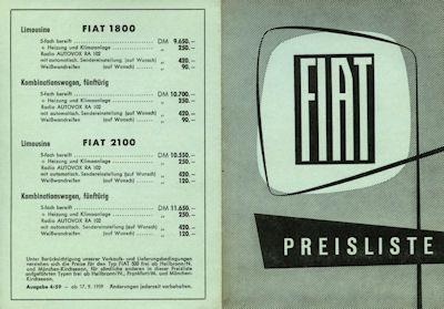Fiat Preisliste 9.1959 0