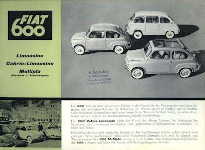 Fiat 600 Prospekt ca. 1960