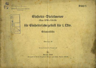 Einheits-Dieselmotor für l.Lkw D 661/3 Ersatzteilliste 4.1939 0