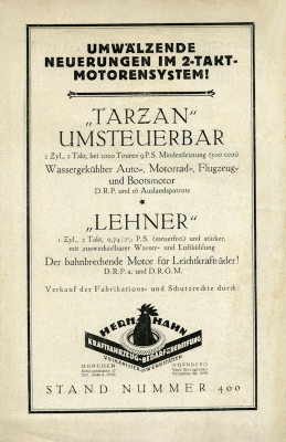 Tarzan und Lehner Motoren Prospekt 1924 0