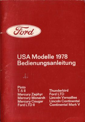 Ford USA Modelle Bedienungsanleitung 1978