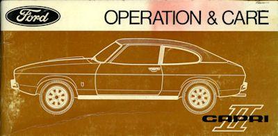 Ford Capri II Bedienungsanleitung 1970er Jahre e 0