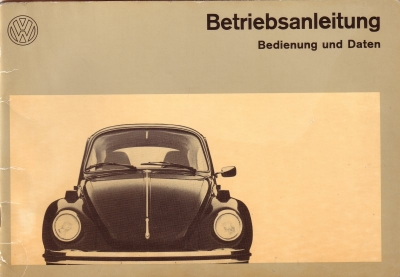 VW Käfer 1303 Bedienungsanleitung 1972 0