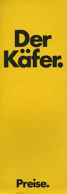 VW Käfer Preisliste 8.1972 0