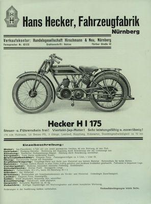 Hecker H I 175 Prospekt ca. 1928
