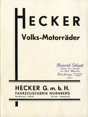 Hecker VM 1 und 2 Prospekt ca. 1932