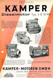 Kämpfer Dieselmotor 4 D 10 HN Prospekt ca. 1950