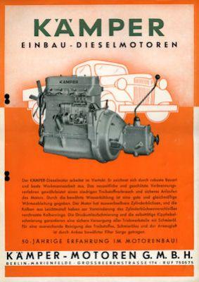 Kämpfer Dieselmotoren Prospekte ca. 1955