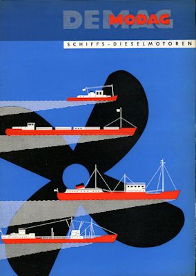 DEMAG-MODAG Schiffsmotoren Prospekt-Mappe ca. 1955 1