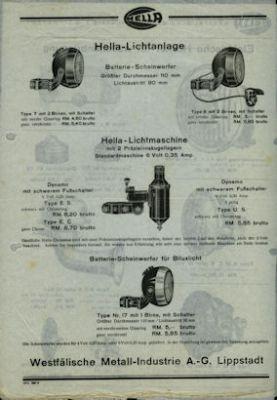 Hella Fahrrad Licht-Anlagen 1934