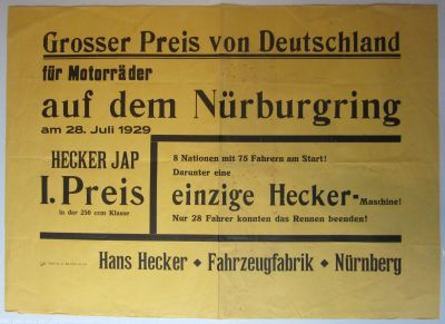 Hecker original Plakat 1929 0