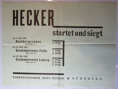 Hecker original Plakat 1929