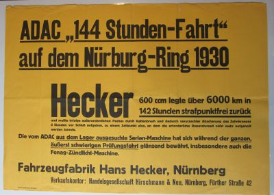 Hecker original Plakat 1930