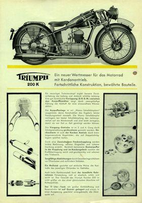 Triumph 200 K Prospekt 1935 1