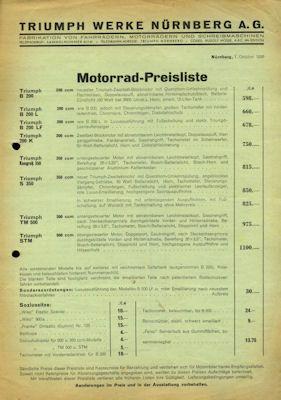 Triumph Preisliste 10.1936 0