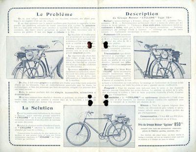 Cyclone moteur bicyclette Prospekt 1920er Jahre 1