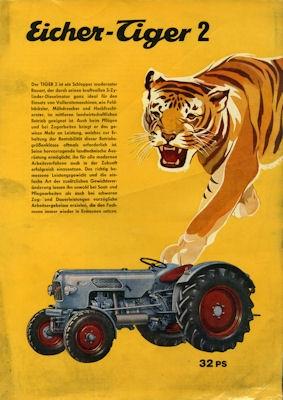 Eicher 32 PS Tiger 2 Schlepper Prospekt 8.1966 0