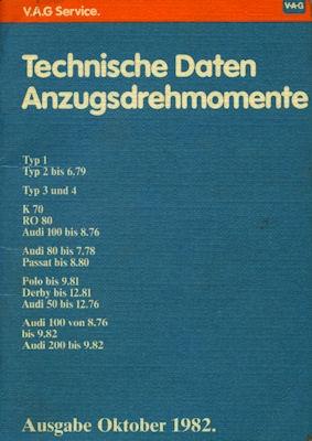 VW Technischen Daten 10.1982 0