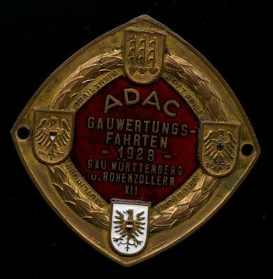 Plakette Gaufahrt Württemberg u. Hohenzollern 1928