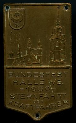 Plakette Bundesfest Halle / Saale 1930 0