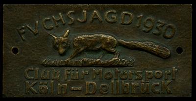 Plakette Fuchsjagd Köln-Dellbrück 1930 0